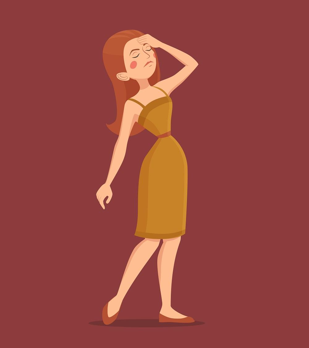 بی قراری یک خانم از شدت سردرد پریودی