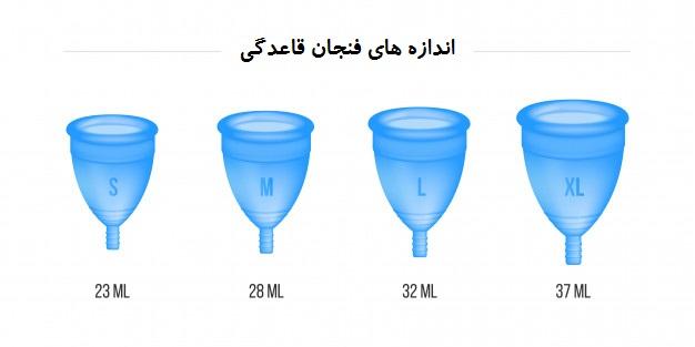 انواع سایز کاپ قاعدگی