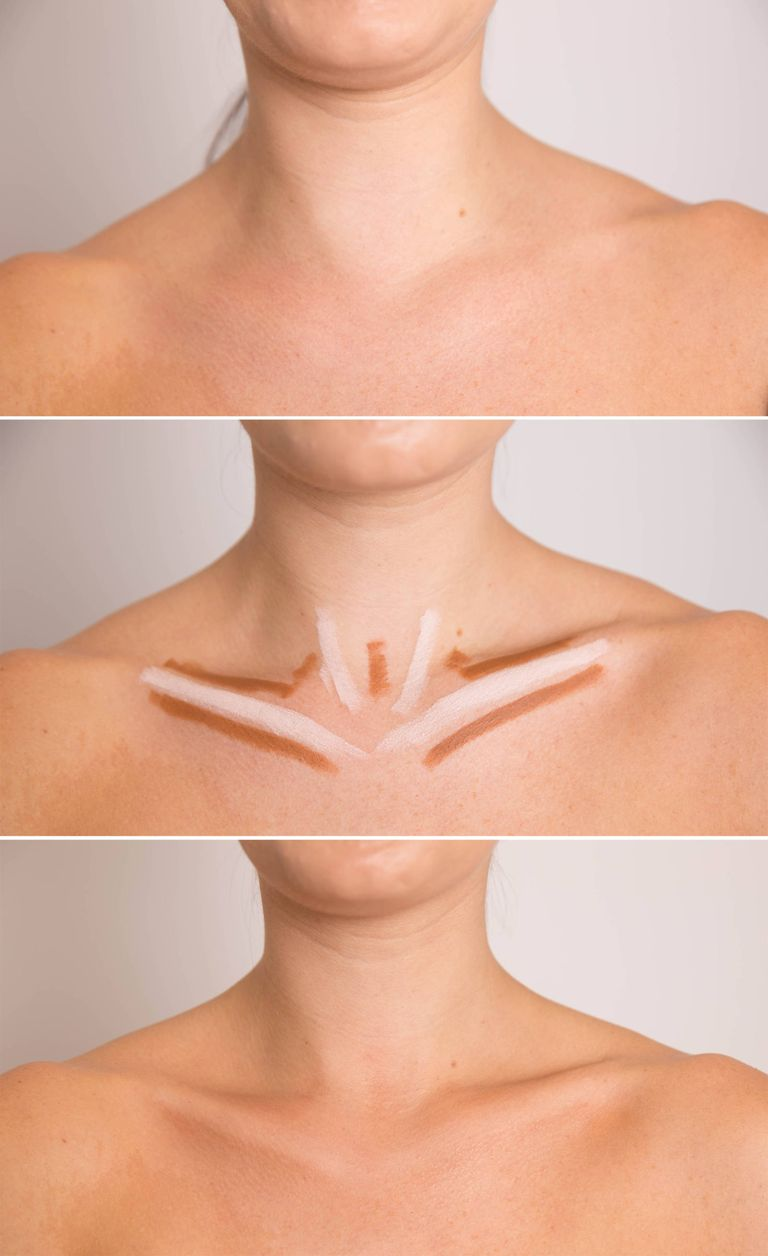 استفاده از کانسیلر برای برجسته کردن استخوان سینه